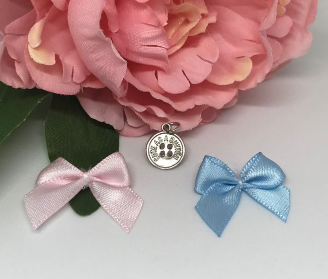 Cute as a button charm for New baby and Christening in Sterling Silver