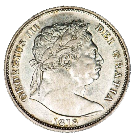 1816 King George III Half Crown - Bull Head