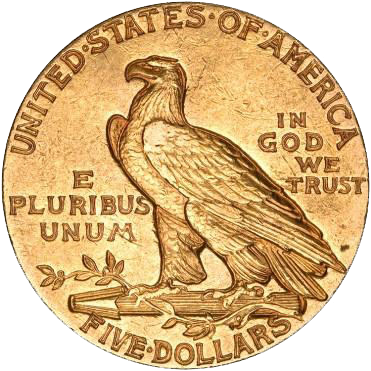 1911 $5 Gold Indian Head Half Eagle Coin